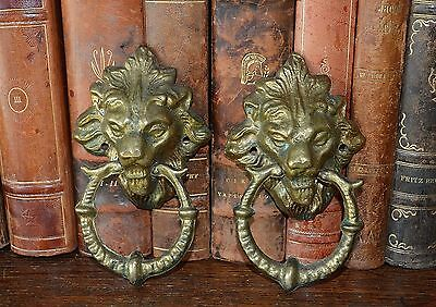 Antique French Large Pair Gilt Brass Lion Head Drawer Pulls Handles