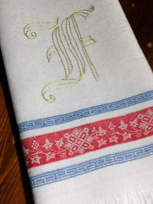 "Antique Turkey Red Linen Damask Towel Indigo Blue Stripes 20"" x 40"""