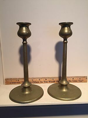 Vintage Pair Arts & Crafts Bronze or Brass Candlesticks Old Original Patina