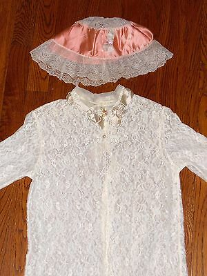 Gorgeous Vintage Heirloom Lace ~Robe & Night Cap~ with Ribbon Work Size 4 - 6