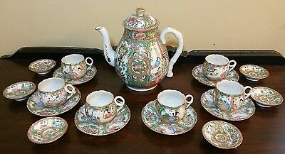 Antique Rose Medallion Chinese Porcelain Teapot & Cups & Saucers