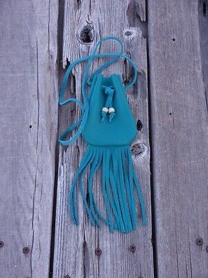 Turquoise leather medicine bag , Turquoise leather neck pouch , Leather necklace