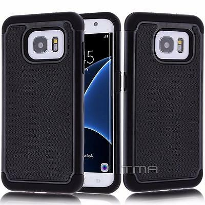 Fits Samsung Galaxy S7 Edge Case Shockproof Rugged Impact Hybrid  Cover - Black