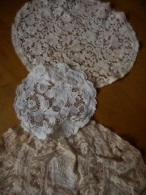Antique Vtg Normandy Lace Doily Doilies Lot