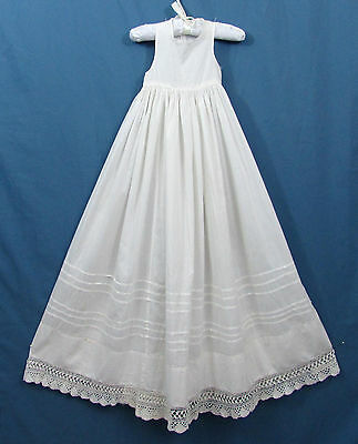 """Antique Baby Gown Slip with Crochet Edging - 35"""" long - ca 1900 - Christening"""