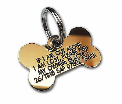 REINFORCED Deeply engraved dog tag, extra tough solid brass bone shape