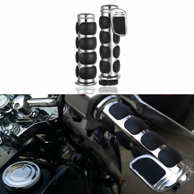"""Chrome 1"""" Handle bar Hand Grips Fit Harley Touring Sportster Dyna Softail Bobber"""