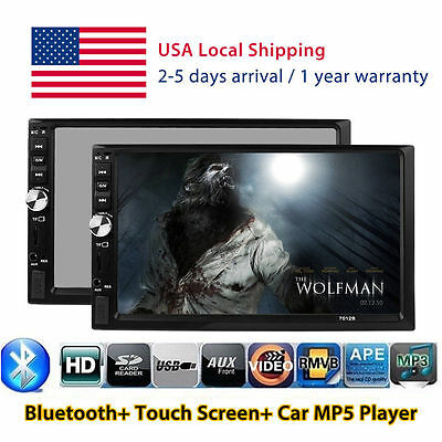 "Double 2Din 7"" Touch Bluetooth Car Stereo MP3 MP5 Player HD In Dash TV Radio FM#"