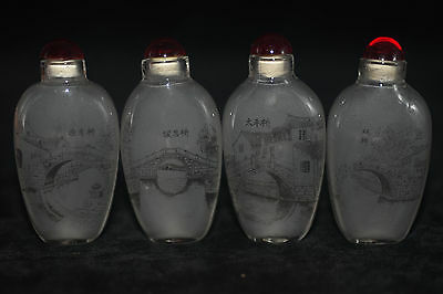 4pc Chinese folk Inside painted scenery Fig glass snuff bottle