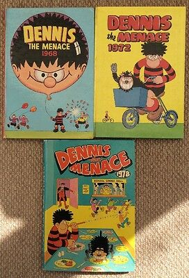 Vintage Dennis The Menace Annuals 1968,1972& 1978 Goood Condition.