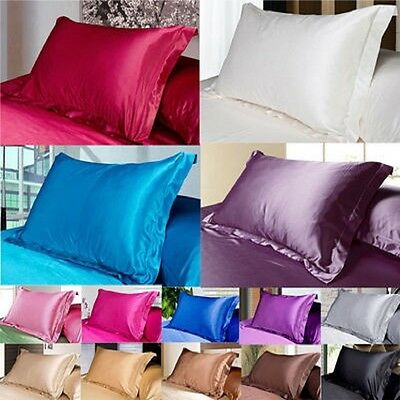 1pc New Queen/Standard Silk~y Satin Pillow Case Multiple Colors