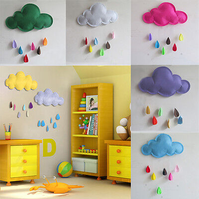 Baby Room Nursery Cloud With Raindrop Wall Stickers Lovely Hanging Room Decor