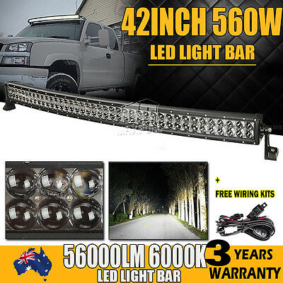 """42""""inch 800W CURVED LED LIGHT BAR SPOT&FLOOD OFFROAD DRIVING LAMP 4X4WD 50""""/52"""""""