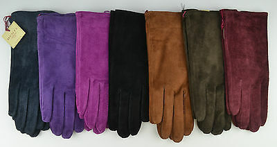 Dents Womens Ladies Emily Suede Gloves.Black,Navy,Red,Cognac,Mocca,Claret,Green