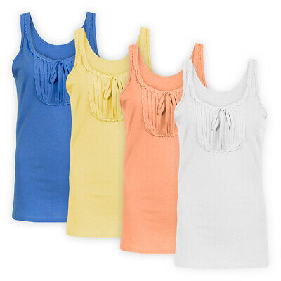 Womens Ladies Casual Vest Top Lace Trim Pleat Panel Stretch Sleeveless T-Shirt