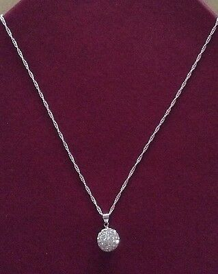 Necklace 925 Sterling Silver Chain with Crystal Plated Pendant Girls' Women's