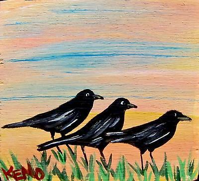 "3 BLACKBiRDs~MiNi 3""x3"" wood painting~KENO FOLK ART Abstract~COASTWALKER"