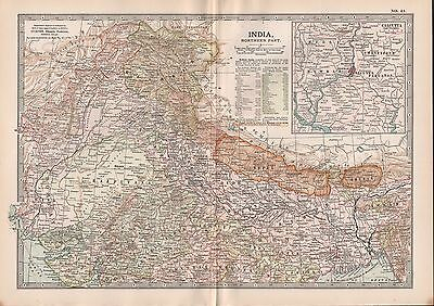 1903 Britannica Antique Map India Northern Part Calcutta Karachi Lahore