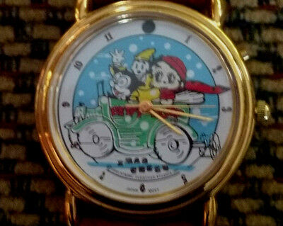 Betty Boop Vintage Watch Band Leather (Xmas Cheer) 1993 Fleischer Studios Tali