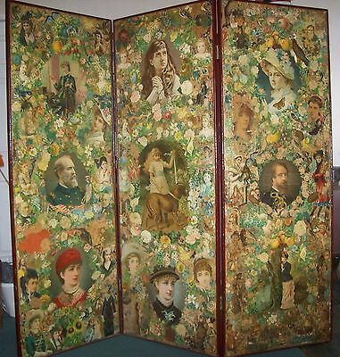Victorian Scrap Decoupage Three Fold Screen C1880,s
