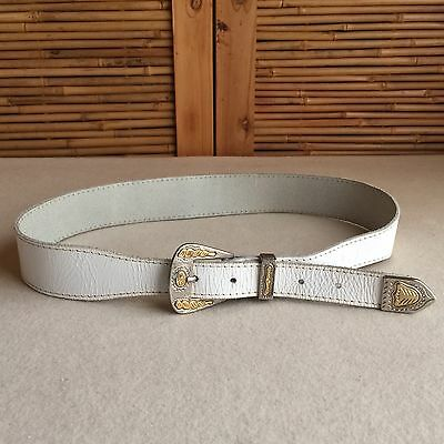 "Vintage 80s WHITE Cowhide LEATHER Cowboy WESTERN Belt SILVER Buckle TIP 30"" 32"""