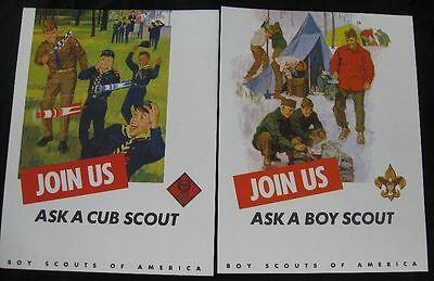 2 Different Vintage 1960's BSA Posters Join Us Boy & Cub Scout