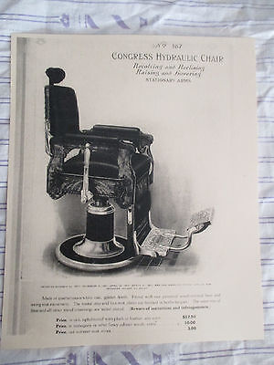 1911 Vintage CONGRESS #167 HYDRAULIC OAK Reclining Barber Chair Sign Ad