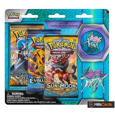 Pokemon Cards: Legendary Beasts - Suicune: 3 Pack Pin Blister - Triple Booster