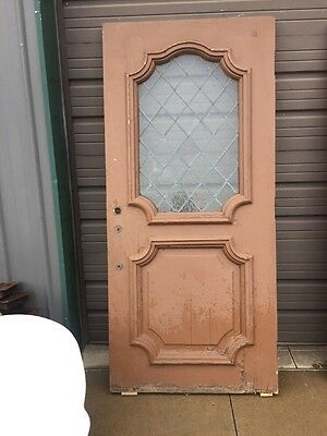 "An 61 Antique Leaded Glass Diamond Pattern Entrance Door 35 3/4"" X 78.5"