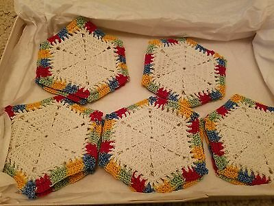10pc  Vintage Hand Knitted Coasters