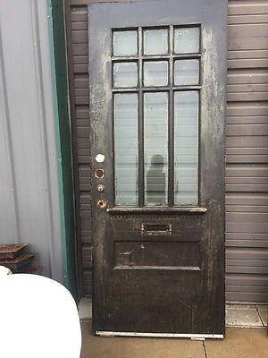 An 65 Antique Beveled Glass Oak Entrance Door 33.625 X 83.5