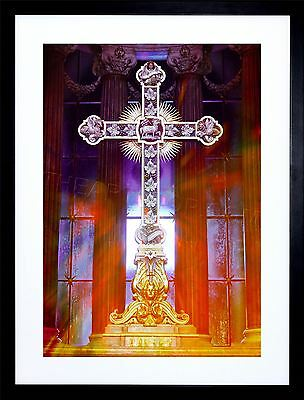 Photo Painting Psychedelic Christian Cross Framed Picture Art Print F12X8261
