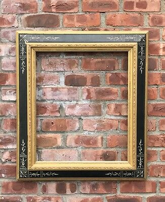Wonderful C1875 Eastlake Picture Frame With Gold Gilded And Ebonized Moldings