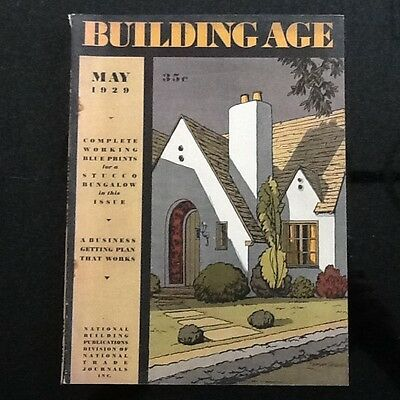 Vintage May 1929 Building Age Magazine w/ Blueprints for a Stucco Bungalow/House