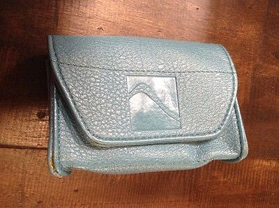 Card Cubby Wallet Organizer Teal Card File Dividers Magnet Snap Closure Coin Zip