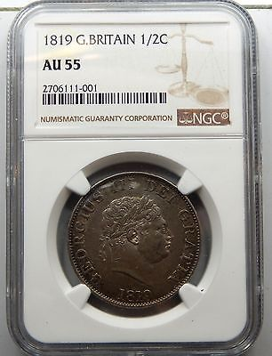 Great Britain, 1819 George III Half Crown - NGC Graded AU55 !!