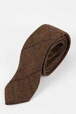 Mens Marc Darcy Designer Brown Navy Check Print Tweed Tie