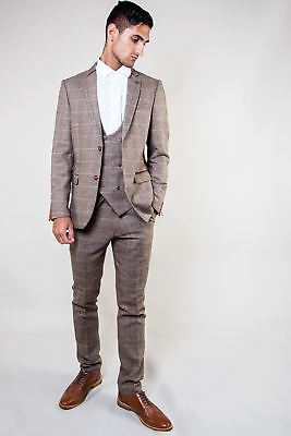 Mens Marc Darcy Designer Tan Check Tweed Double Breasted Three Piece Suit 34-52