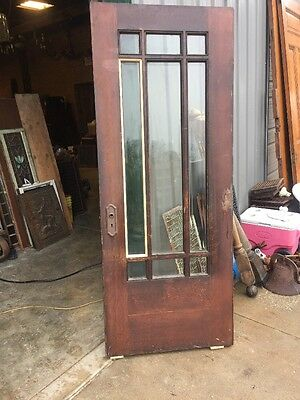 An 70 Antique Pine All Beveled Glass Prairie Style Door 31.5 X 79.5