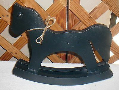ROCKING HORSE~Miniature~Black~Doll Size~Handcrafted~Doll Accessory~FREE SHIP