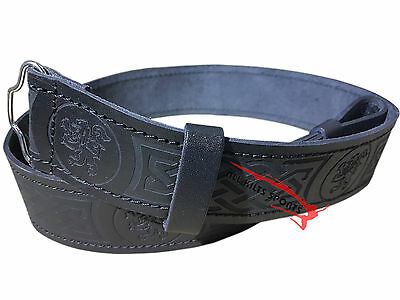 Scottish Highlander Black Leather Rampant Lion Kilt Belt