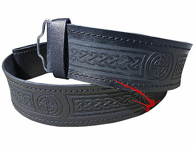 Scottish Highlander Black Leather Embossed Celtic Thistle Kilt Belt