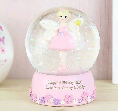 Personalised Pink Fairy Snow Globe Christening Gift 1st Birthday Easter