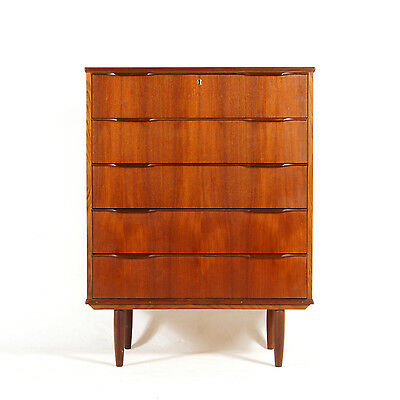 Retro Vintage Danish Teak Tall Boy Dresser Chest of Drawers 60s 70s Scandinavian