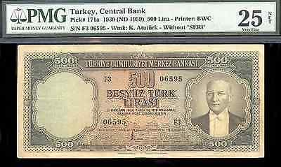 bucksless 1926: PMG25 TURKEY 500 LIRA ND (1959), P-171a