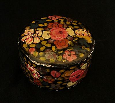 Old Eastern Asia Hand Painted Flowers Paper-mache Round Box - Collectibles
