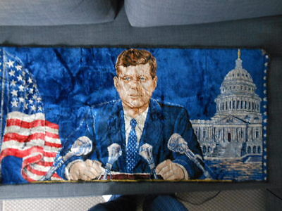 Vintage John F Kennedy Tapestry wall hanging/rug capitol bldg and flag