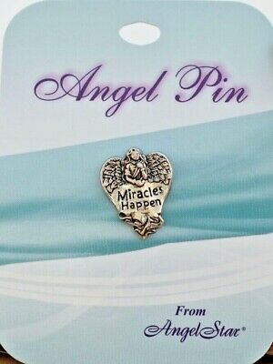'Miracles Happen' Angels Pewter Pin. 15830