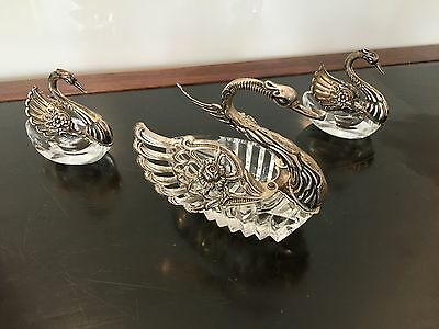 Early 20Th Century Set Of Three Sterling Silver Crystal Swan Salts From Germany