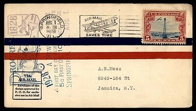 Springfield Il Aug 1 1928 First Day New Rate Air Mail Cover Sc C11 To Jamaica Ny